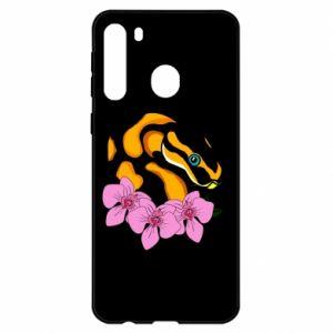 Etui na Samsung A21 Snake in flowers