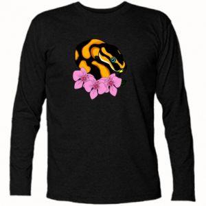 Koszulka z długim rękawem Snake in flowers - PrintSalon