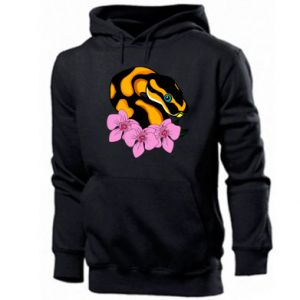 Men's hoodie Snake in flowers