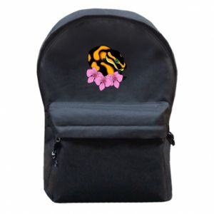 Backpack with front pocket Snake in flowers