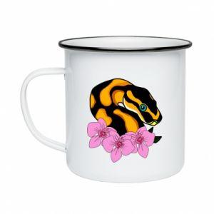 Kubek emaliowany Snake in flowers