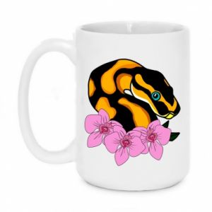 Kubek 450ml Snake in flowers - PrintSalon