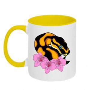 Kubek dwukolorowy Snake in flowers