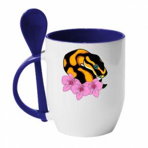 Kubek z ceramiczną łyżeczką Snake in flowers - PrintSalon
