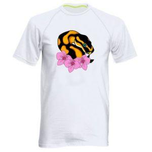 Koszulka sportowa męska Snake in flowers