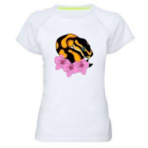 Koszulka sportowa damska Snake in flowers