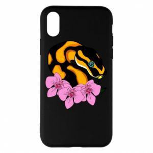 Etui na iPhone X/Xs Snake in flowers
