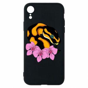 Etui na iPhone XR Snake in flowers