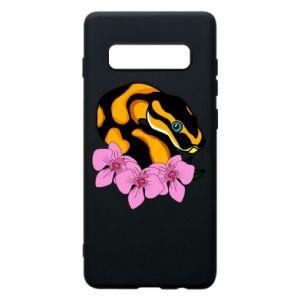 Etui na Samsung S10+ Snake in flowers
