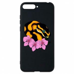 Etui na Huawei Y6 2018 Snake in flowers
