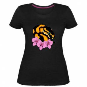 Damska premium koszulka Snake in flowers - PrintSalon