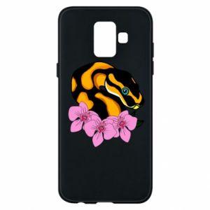 Etui na Samsung A6 2018 Snake in flowers