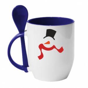 Kubek z ceramiczną łyżeczką Snowman with a scarf