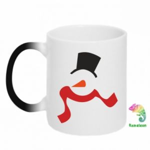 Chameleon mugs Snowman with a scarf