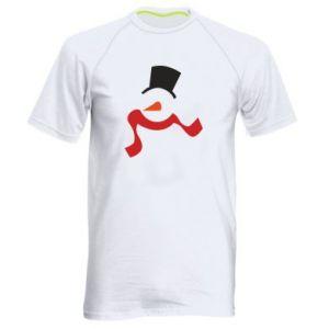 Męska koszulka sportowa Snowman with a scarf