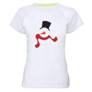 Damska koszulka sportowa Snowman with a scarf