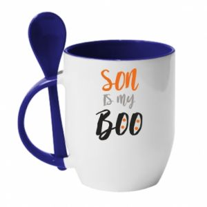 Mug with ceramic spoon Son is my boo