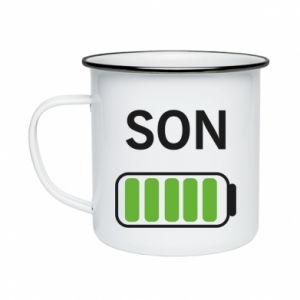 Enameled mug Son charge - PrintSalon