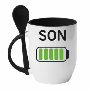 Mug with ceramic spoon Son charge - PrintSalon