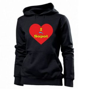 "Women's hoodies ""I love Sopot"" with symbol"