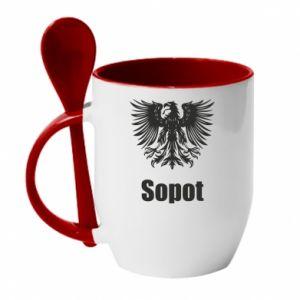 Kubek z ceramiczną łyżeczką Sopot - PrintSalon