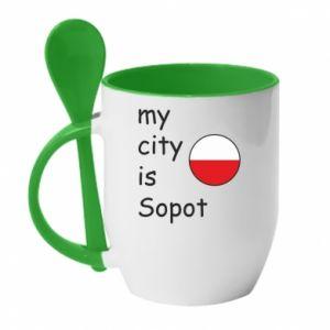 Kubek z ceramiczną łyżeczką My city is Sopot