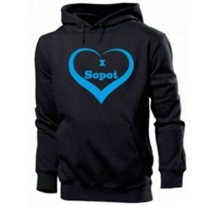 Męska bluza z kapturem I love Sopot - PrintSalon