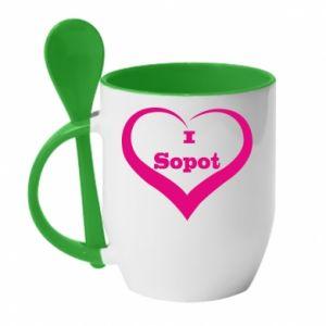 Kubek z ceramiczną łyżeczką I love Sopot - PrintSalon