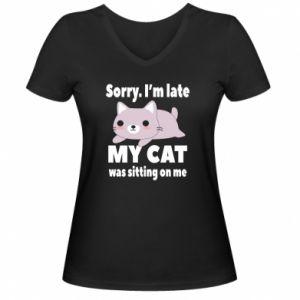Women's V-neck t-shirt Sorry, i'm late