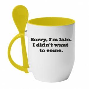 Kubek z ceramiczną łyżeczką Sorry, i'm late