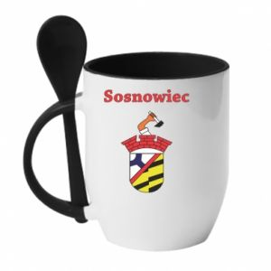 Mug with ceramic spoon Sosnowiec this is my city
