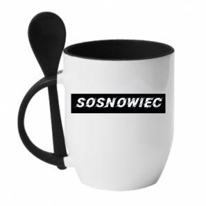 Kubek z ceramiczną łyżeczką Sosnowiec - PrintSalon