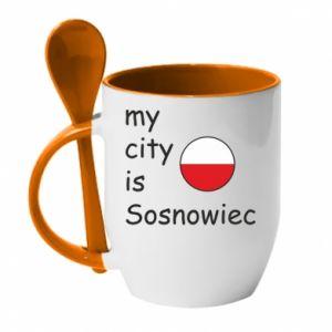 Kubek z ceramiczną łyżeczką My city is Sosnowiec