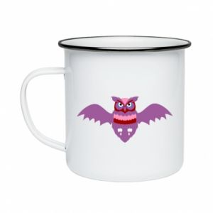 Enameled mug Owl bright color