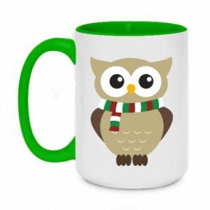 Two-toned mug 450ml Owl in a scarf