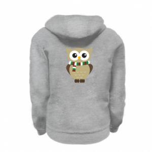 Kid's zipped hoodie % print% Owl in a scarf