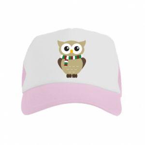 Kid's Trucker Hat Owl in a scarf