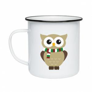 Enameled mug Owl in a scarf