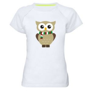 Women's sports t-shirt Owl in a scarf