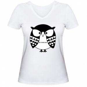 Damska koszulka V-neck Zła sowa