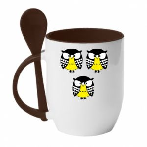 Mug with ceramic spoon Owls - PrintSalon