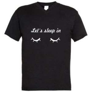 Męska koszulka V-neck Let's sleep in - PrintSalon