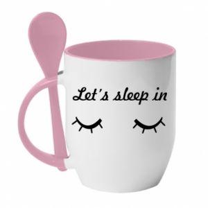 Kubek z ceramiczną łyżeczką Let's sleep in - PrintSalon
