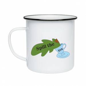 Enameled mug Spill the tea - PrintSalon