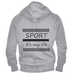 Męska bluza z kapturem na zamek Sport it's my life