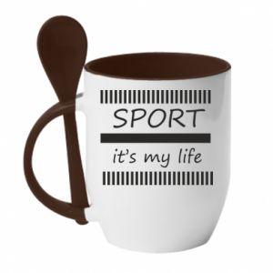 Kubek z ceramiczną łyżeczką Sport it's my life
