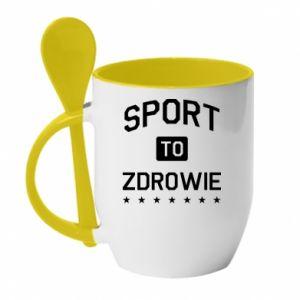 Kubek z ceramiczną łyżeczką Sport to zdrowie