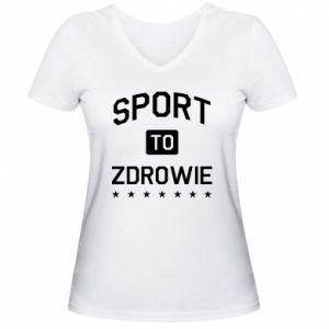 Koszulka V-neck damska Sport to zdrowie