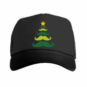 Czapka trucker Mustache Christmas Tree