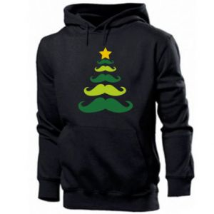 Men's hoodie Mustache Christmas Tree